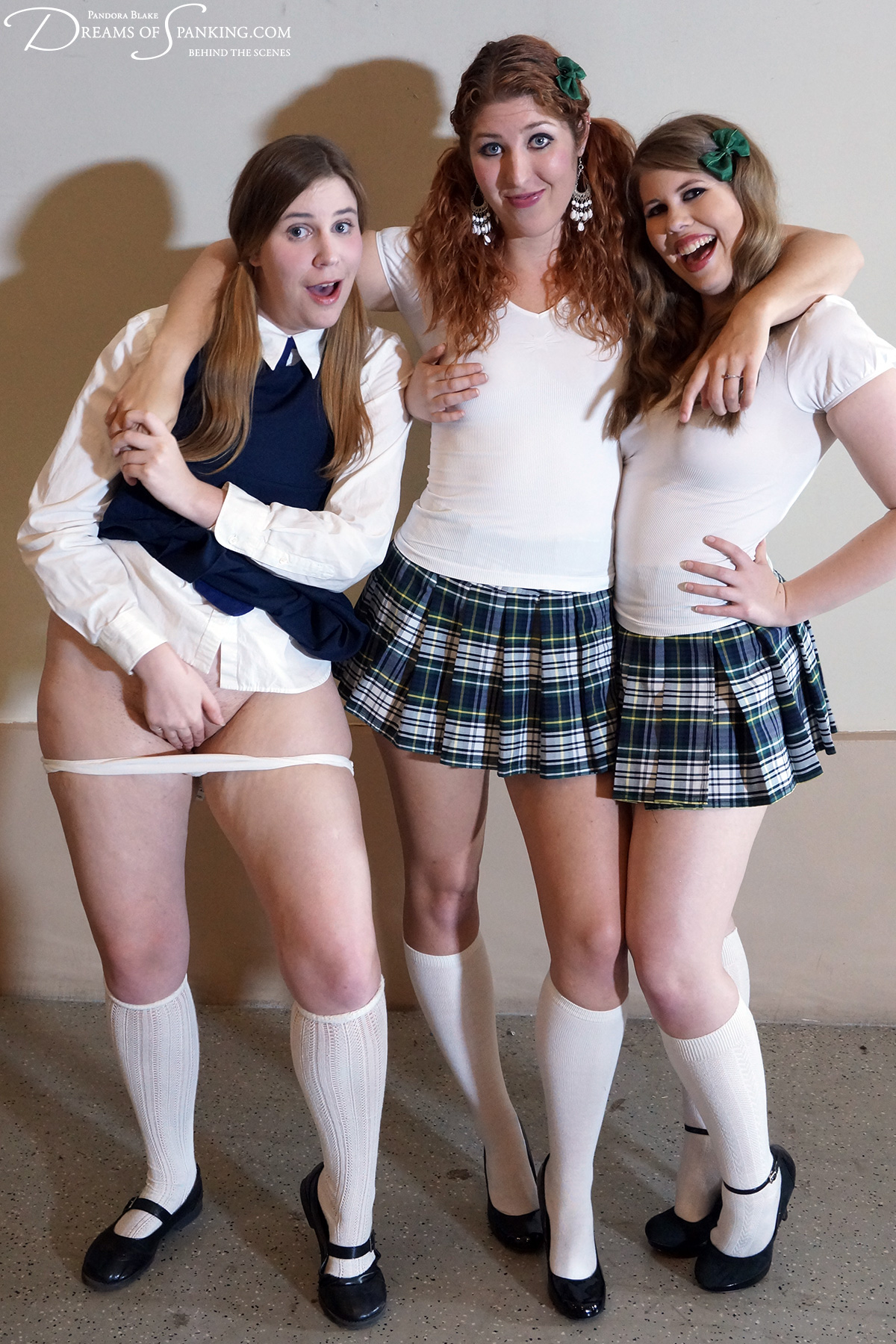 Alex Reynolds, Maddy Marks and Christy Cutie as schoolgirls at Dreams of Spanking