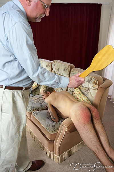 Male/male spanking with Dr Richard Barton and new male spankee Fauni Cate at Dreams of Spanking