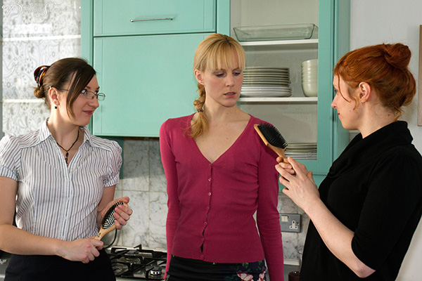 Amelia Jane Rutherford double spanked by Pandora Blake and Caroline Grey with two horrid wooden hairbrushes at once - Dreams of Spanking
