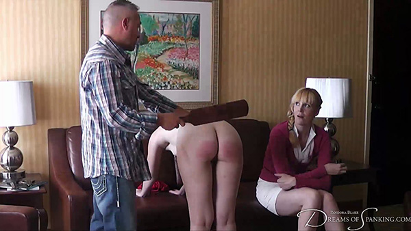Amelia Jane Rutherford spanked with a wooden paddle in Texan Discipline - Dreams of Spanking