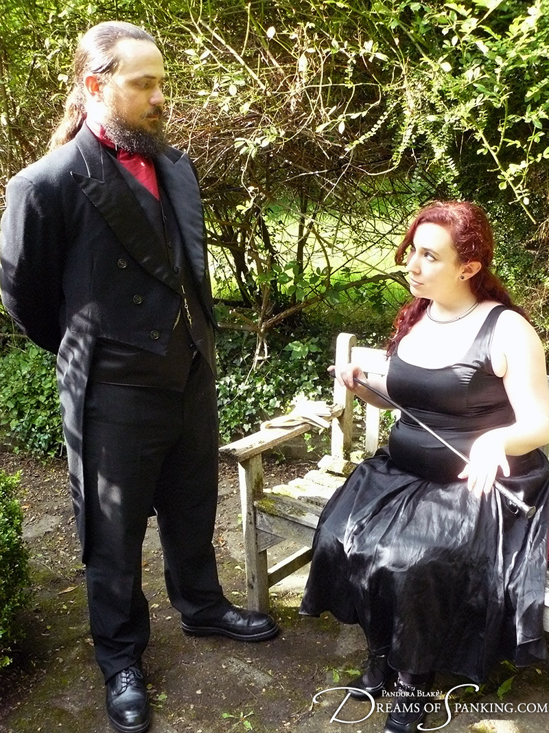 Lady Nimue orders her footman to give her a sound thrashing at Dreams of Spanking
