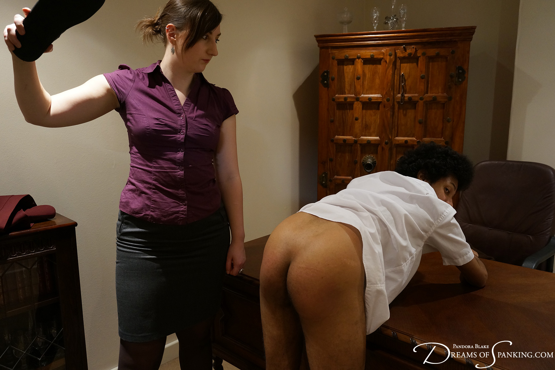 David visits the headmistress' study at Dreams of Spanking