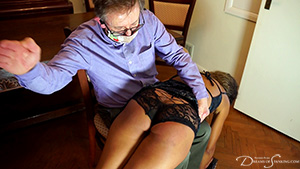 Lana Moon bends over for the cane from Uncle at Dreams of Spanking
