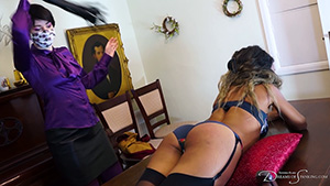 Lana Moon gets a whipping from Pandora Blake at Dreams of Spanking