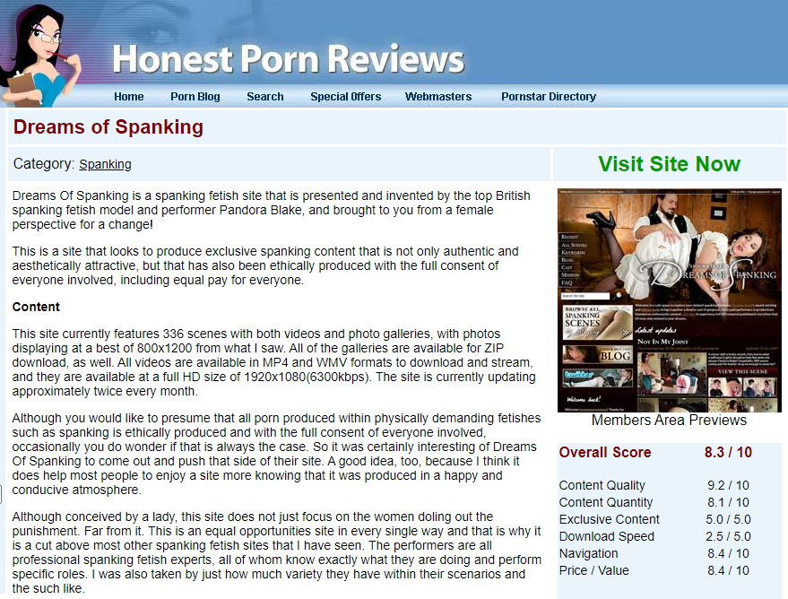 Screengrab of review of Dreams of Spanking on HonestPornReviews.com