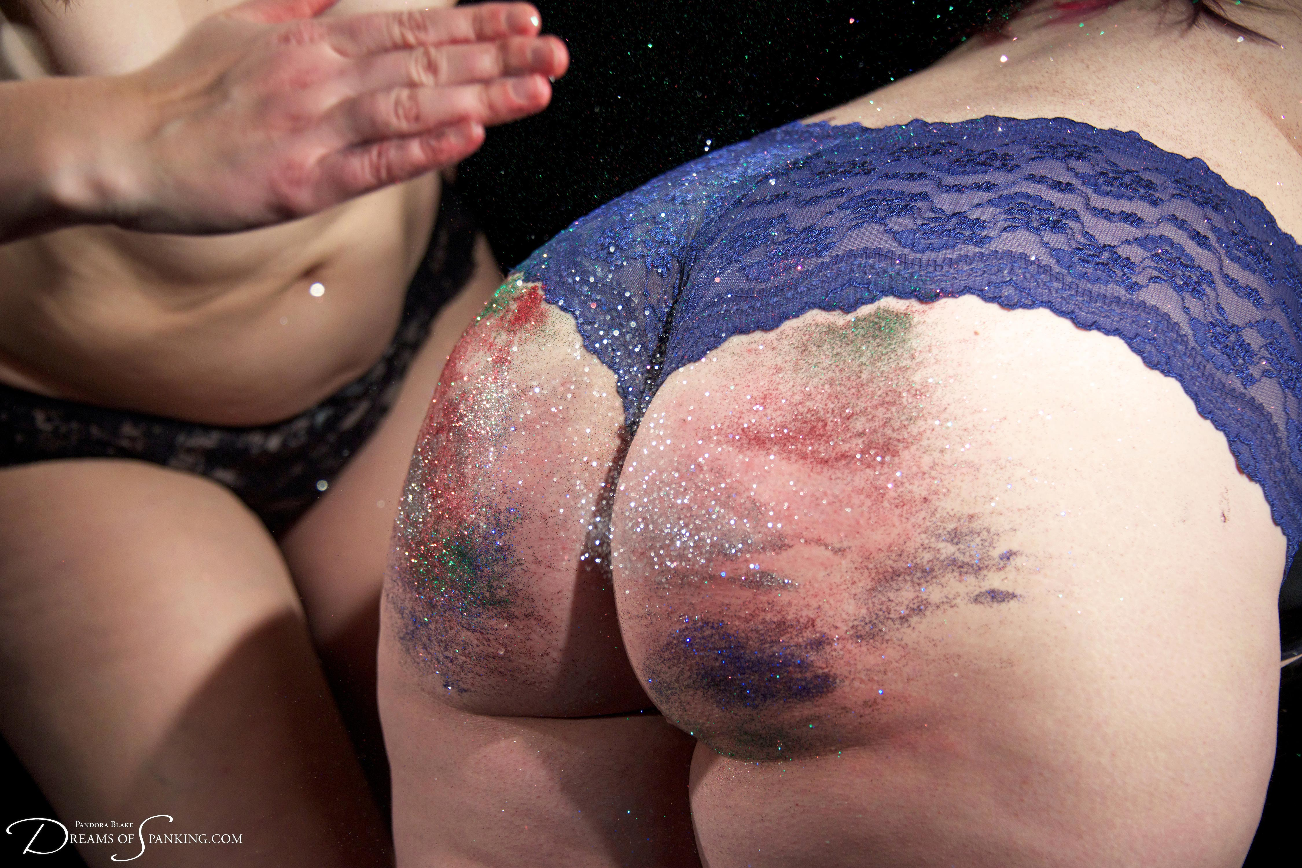 Glitter spanking with Adele Haze and Pandora Blake at Dreams of Spanking