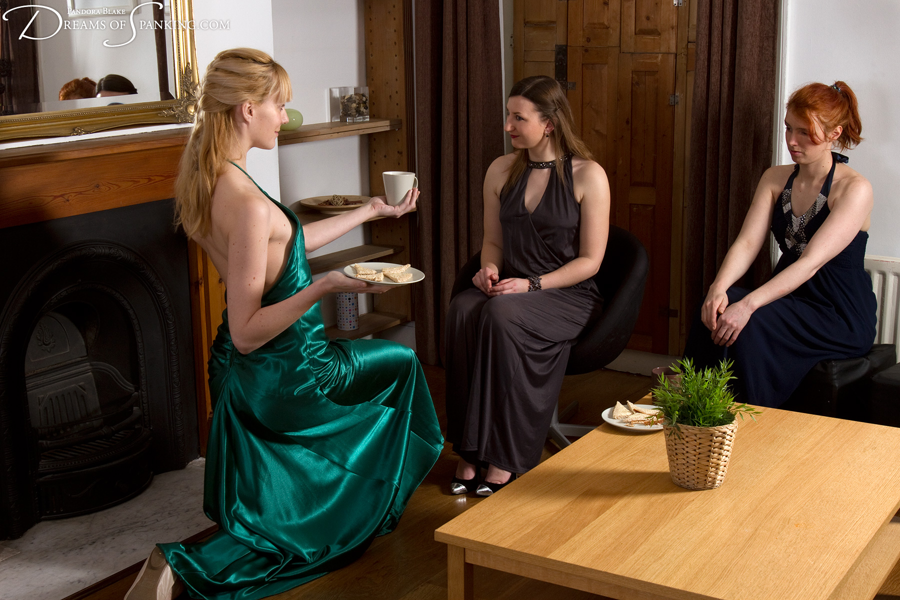 Amelia Jane Rutherford models perfect submissive obedience for Pandora Blake and Caroline Grey