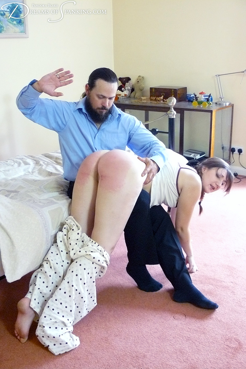 Pandora gets an over-the-knee spanking at bedtime at Dreams of Spanking