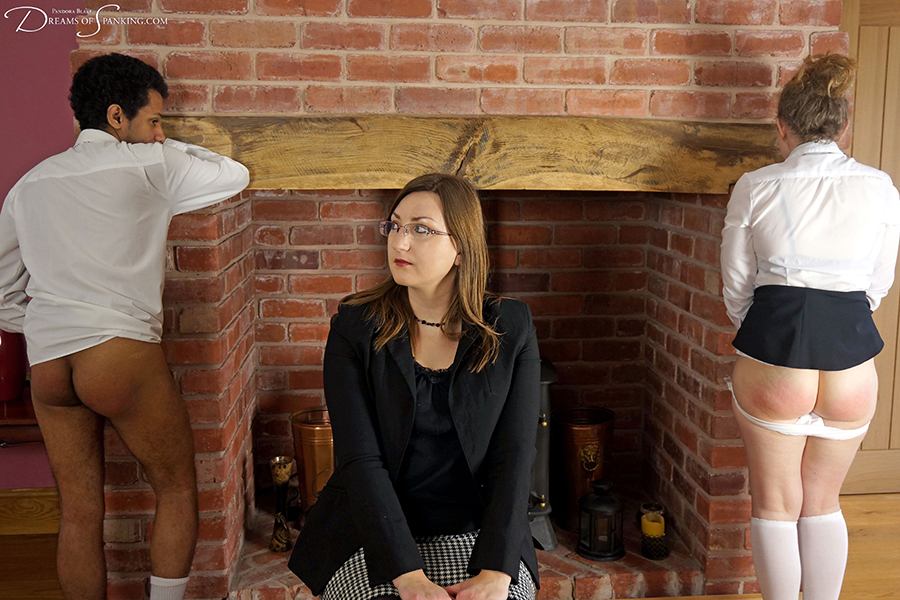 David Weston and Talia Lane punished together with an over the knee hand spanking by Pandora Blake