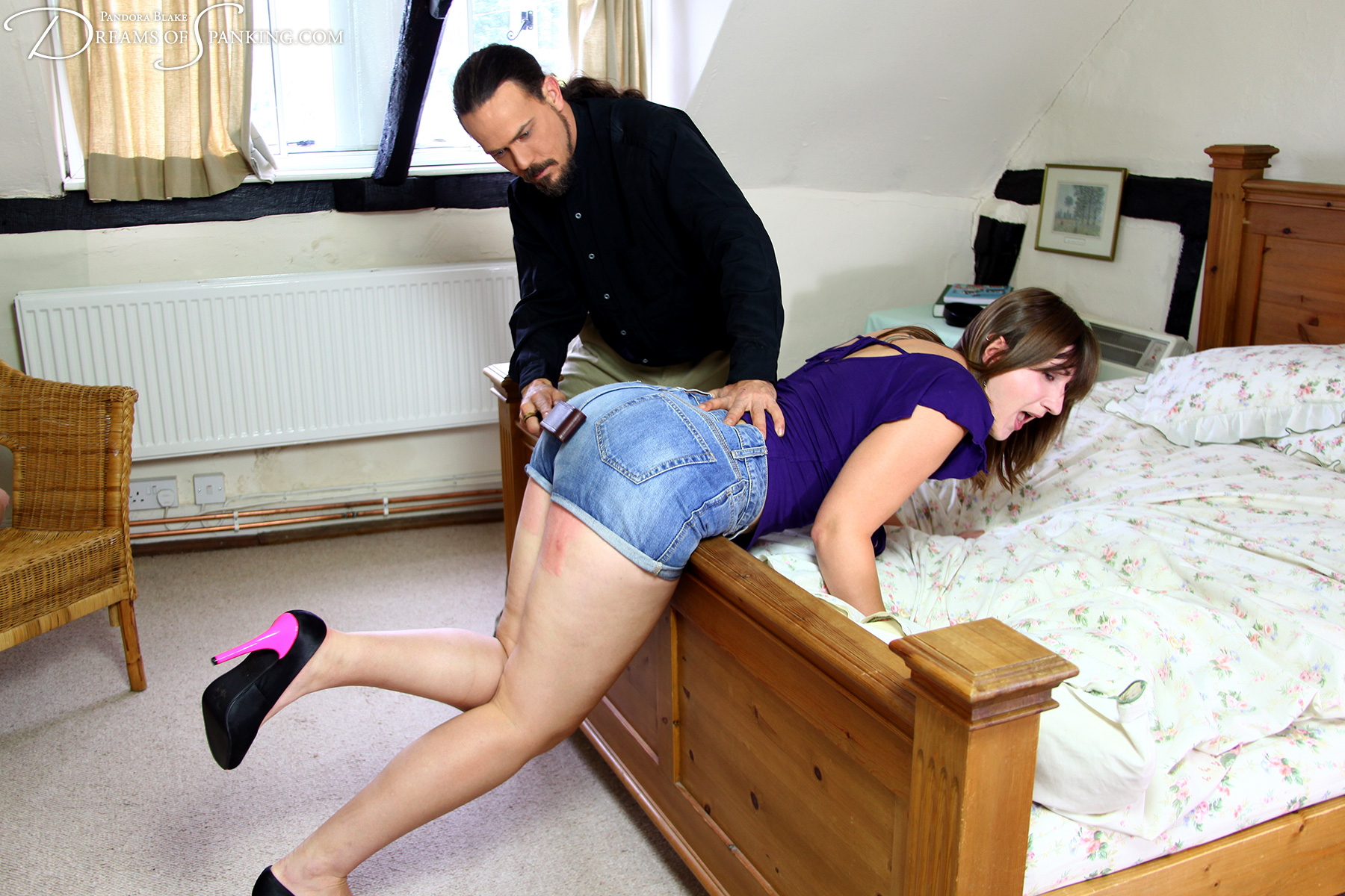 Pandora Blake whipped to tears with a belt at Dreams of Spanking
