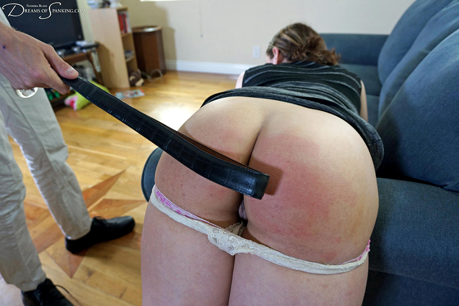 A hard belt whipping for Ten Amorette in this new blackmail porn film at Dreams of Spanking