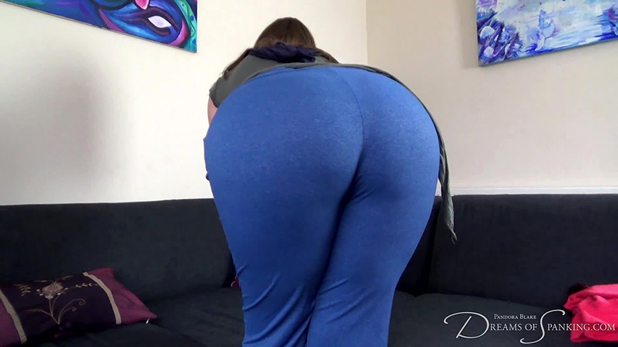 Pandora Blake shows off her big butt in sexy short shorts at Dreams of Spanking