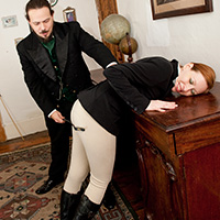 Behind the scenes photo 1 from Caned in Jodhpurs at Dreams of Spanking