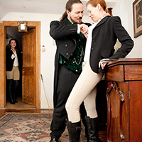 Behind the scenes photo 2 from Caned in Jodhpurs at Dreams of Spanking