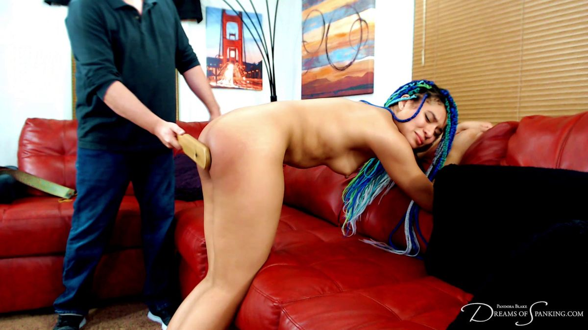 Jayda Blayze gets paddled on the bare bottom at Dreams of Spanking