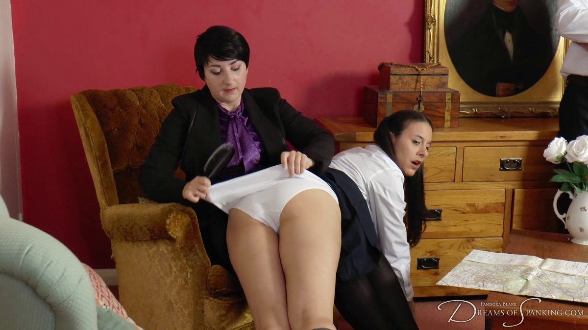 Sarah Gregory has her white school knickers pulled down by Pandora Blake at Dreams of Spanking