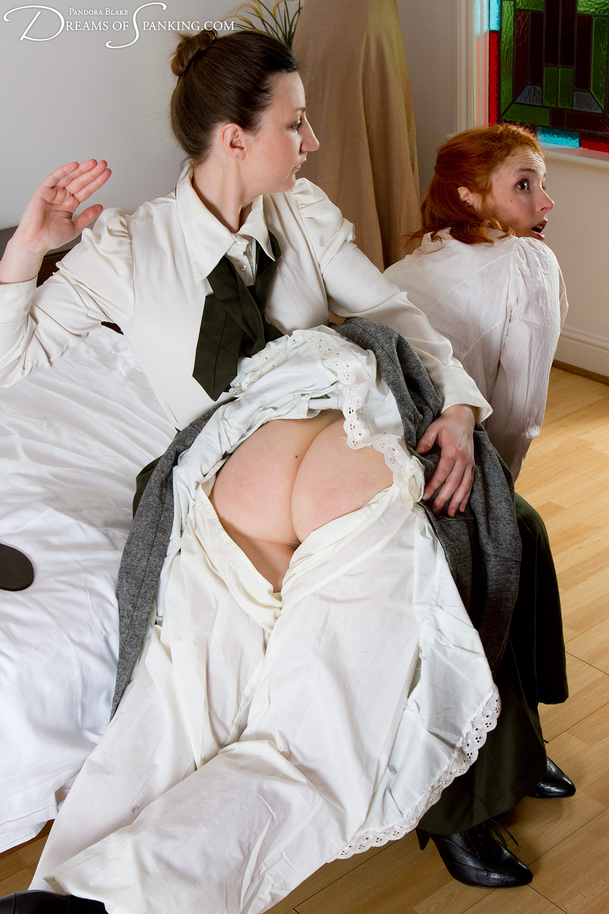 The Edwardian Governess at Dreams of Spanking, starring Amelia-Jane Rutherford, Caroline Gray and Pandora Blake