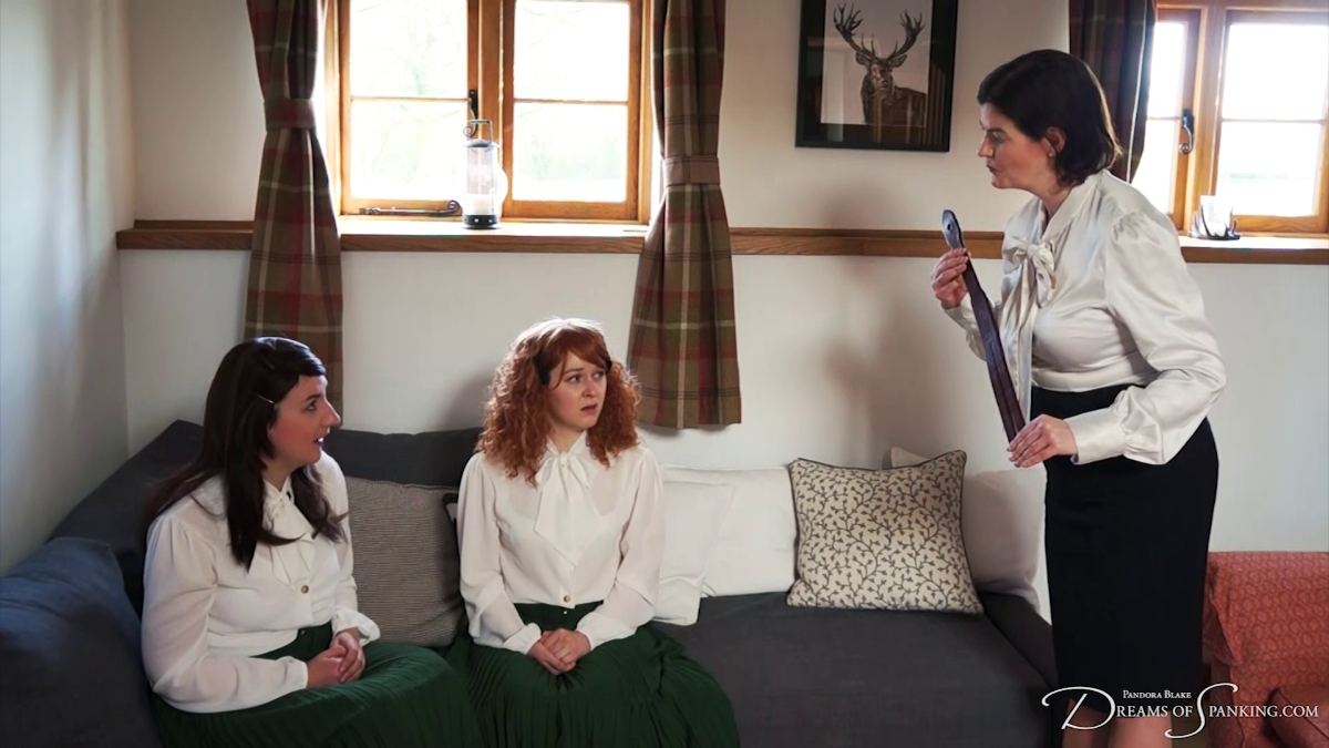 Headmistress Clara Hewiett tells Pandora Blake and Faerie Willow that they are about to get the tawse at Dreams of Spanking