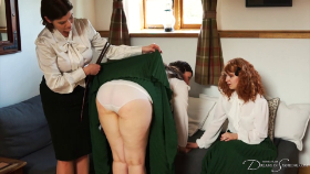 Join the site to view Finishing School: Hand or Thighs? and all other spanking scenes