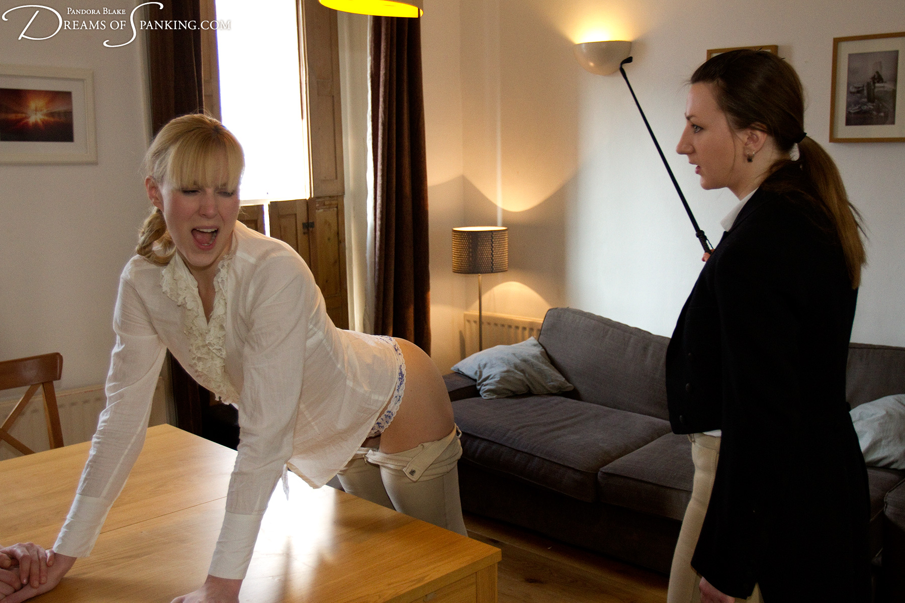 Amelia Jane Rutherford whipped in tight jodhpurs at Dreams of Spanking