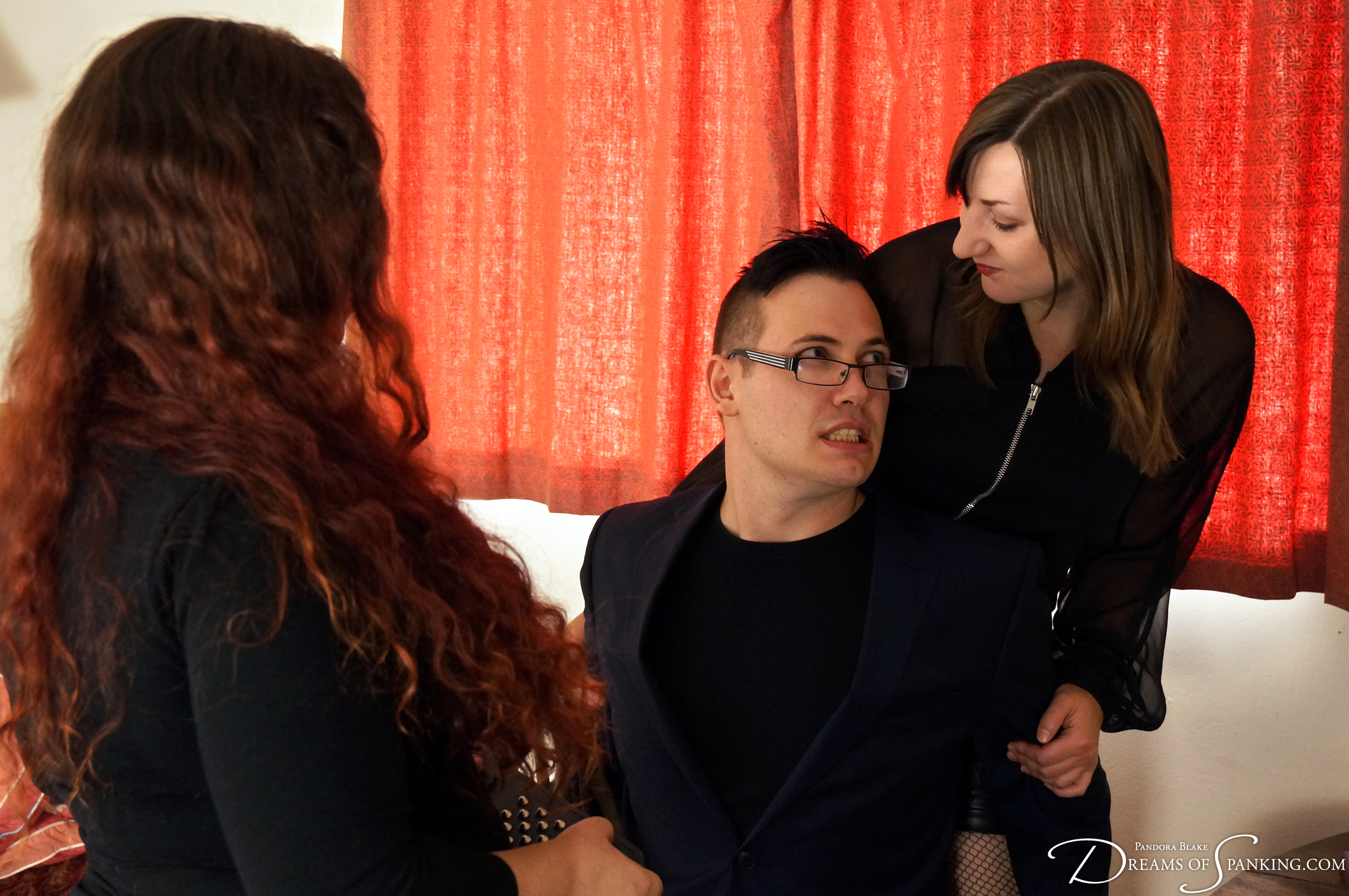 Gallery owner Michael is spanked hard for his chauvinistic ways