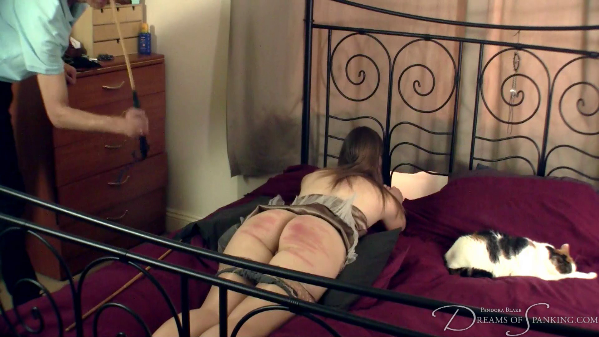 Pandora Blake lifts her bottom for hard cane strokes at Dreams of Spanking