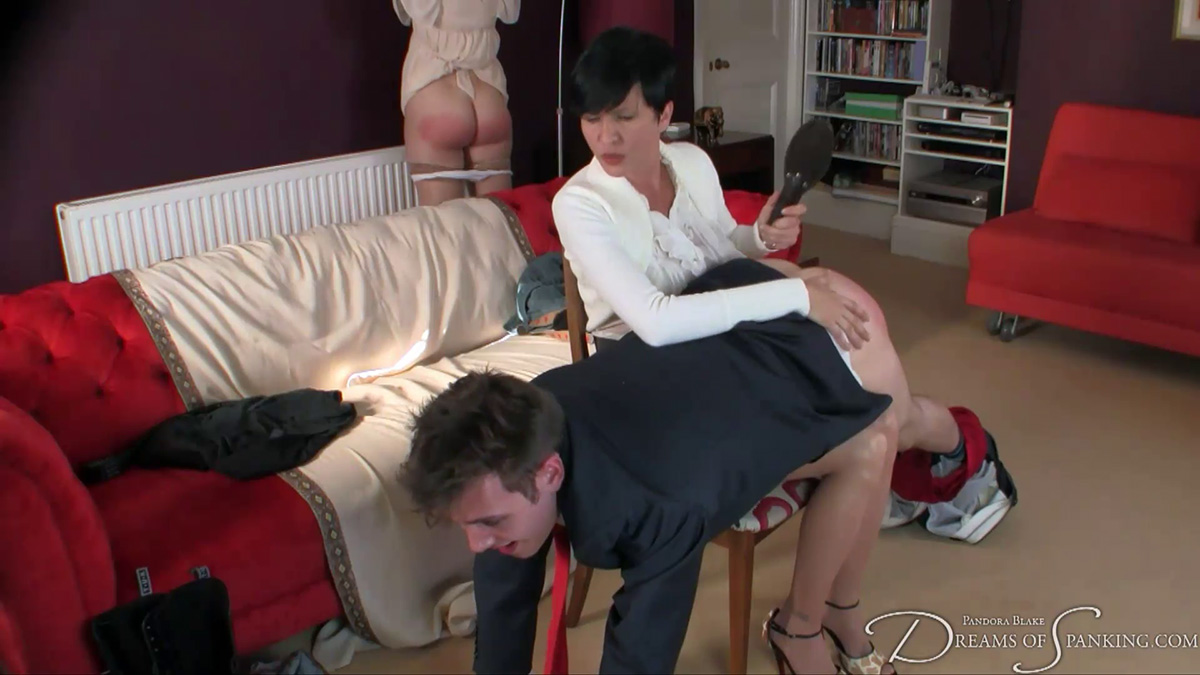 Girl and boy spanked together by their strict governess