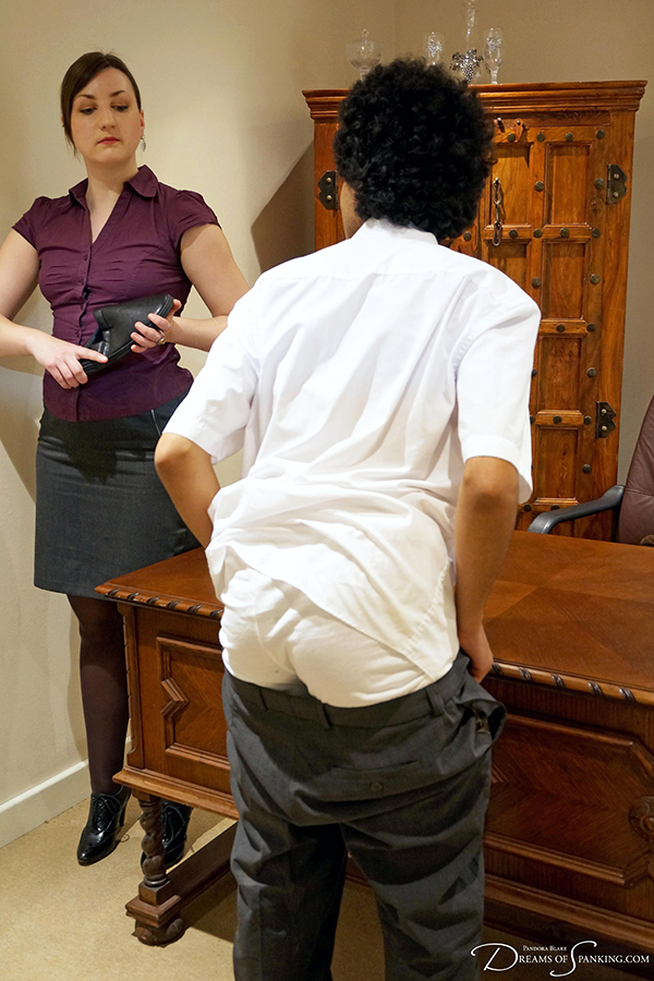 Spanked with a slipper by his strict headmistress - Dreams of Spanking