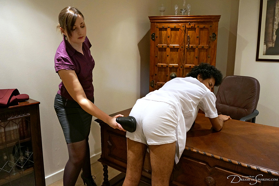 Naughty schoolboy David Weston is punished by his strict Headmistress at Dreams of Spanking