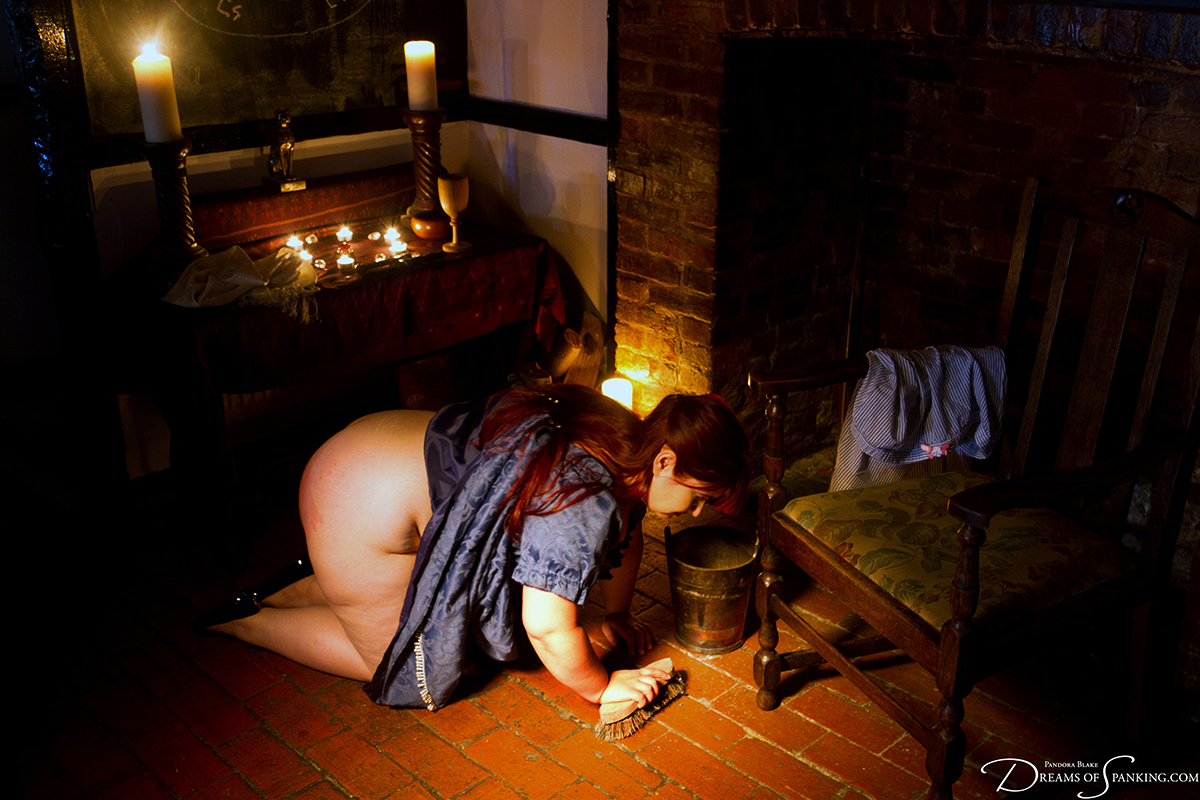 Adele Haze scrubs the floor with her bottom on display at Dreams of Spanking