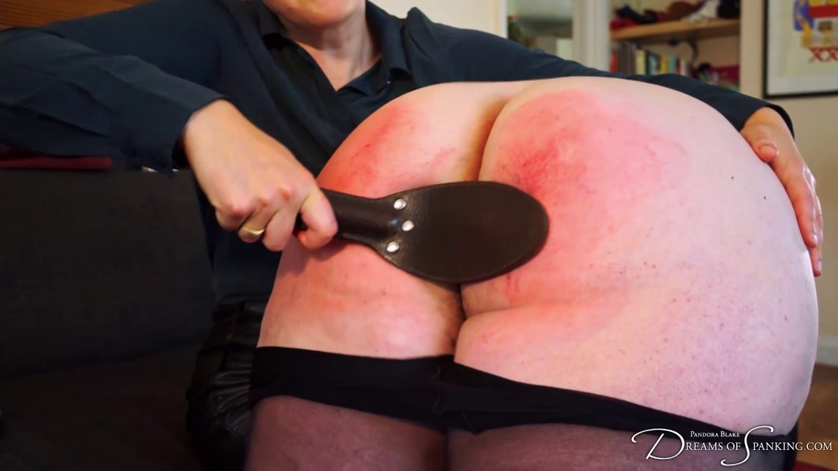 Landlady Nimue Allen goes over Pandora Blake's knee for a hand spanking at Dreams of Spanking