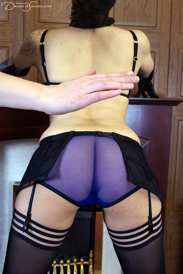 Ms Vixxxen spanked in sheer knickers at Dreams of Spanking
