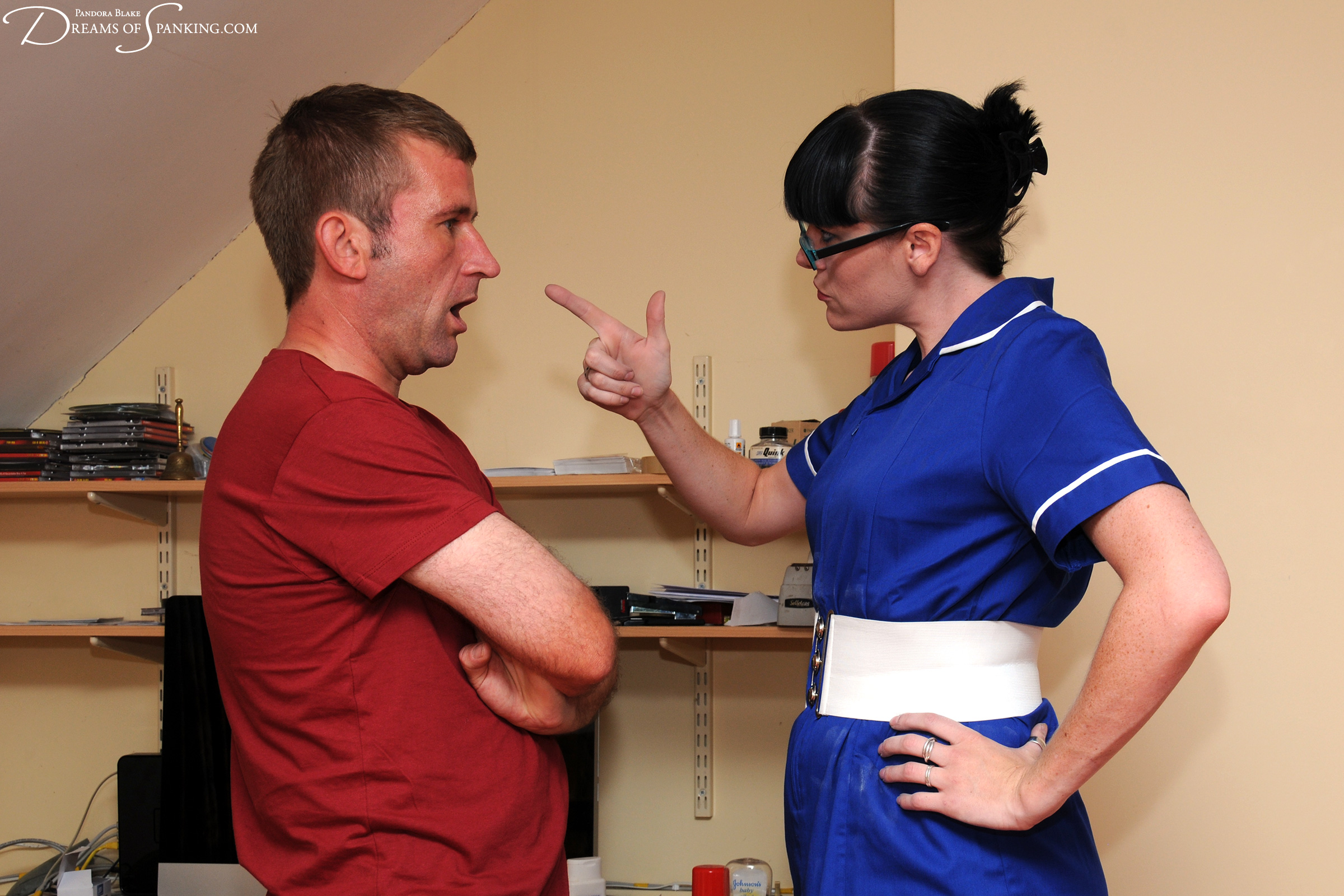 A naughty patient is taken in hand