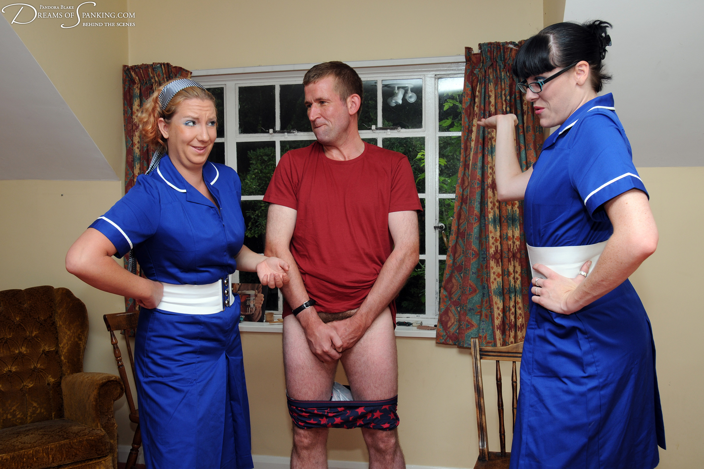 Hilarity behind the scenes in Nursing a Grudge at Dreams of Spanking