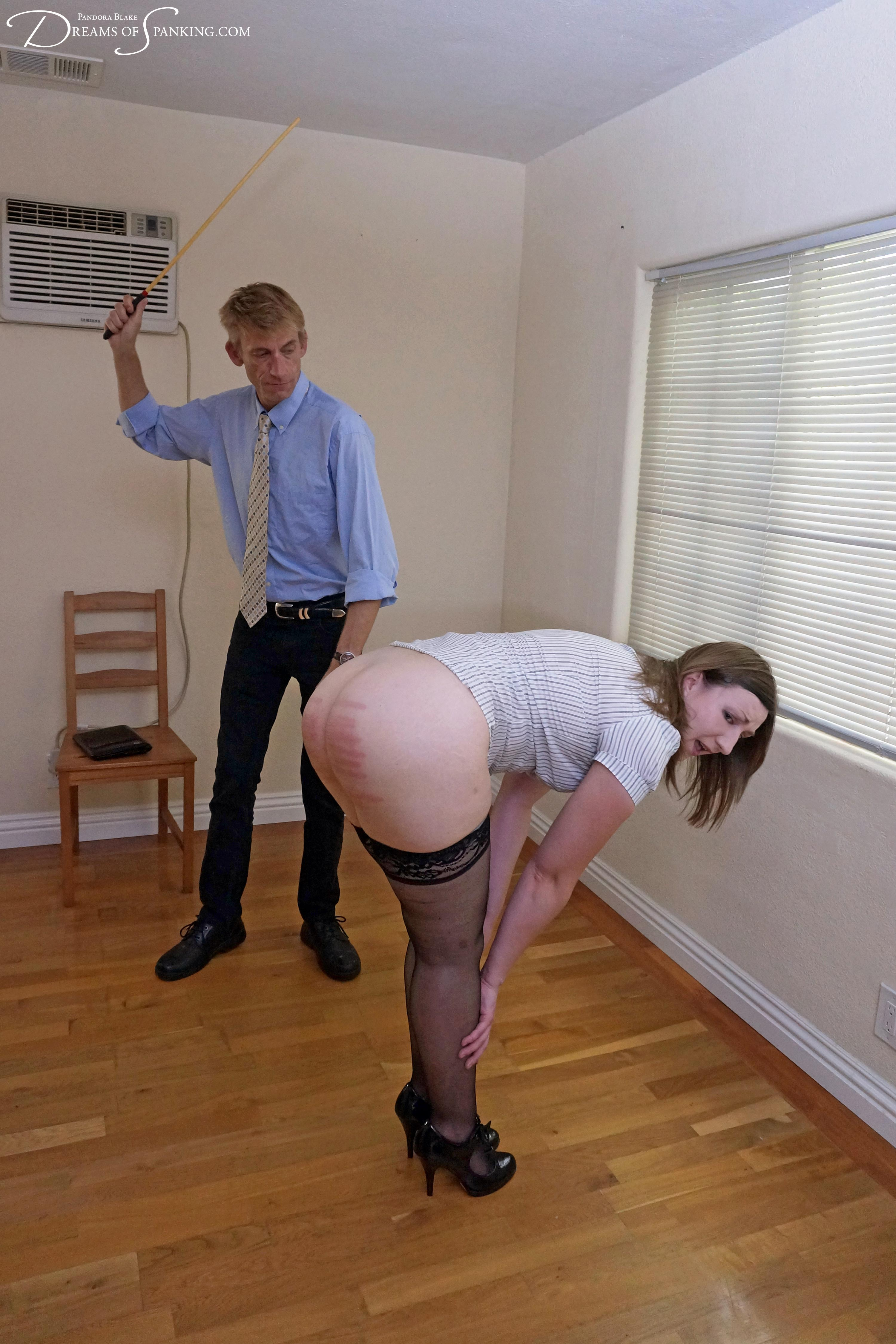 Touching my toes for a cold caning - Pandora Blake
