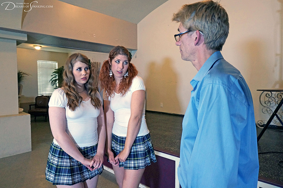 Six of the best cold cane strokes for four schoolgirls at Dreams of Spanking
