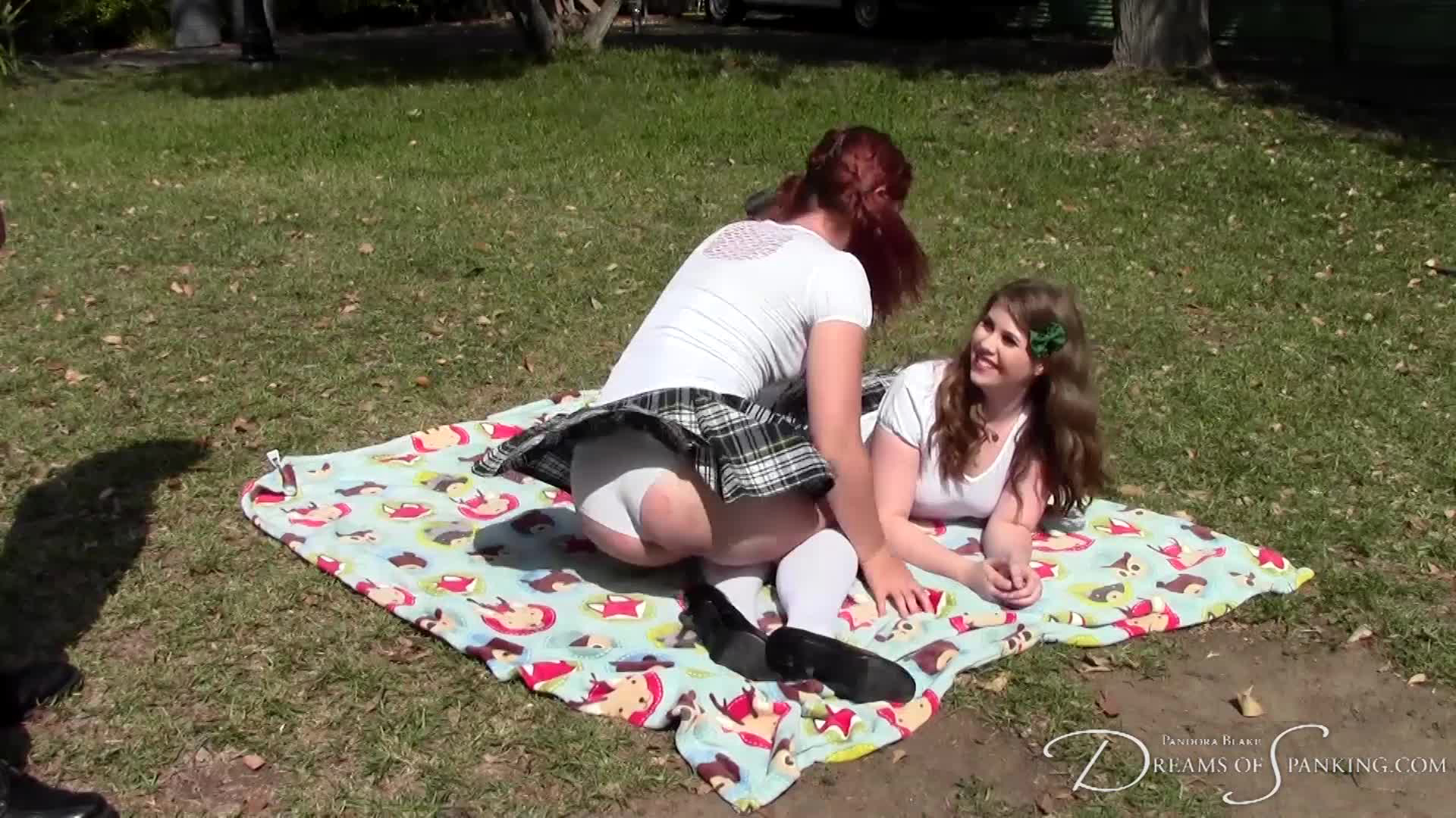 Upskirt moment behind the scenes with Maddy Marks and Christy Cutie - Dreams of Spanking
