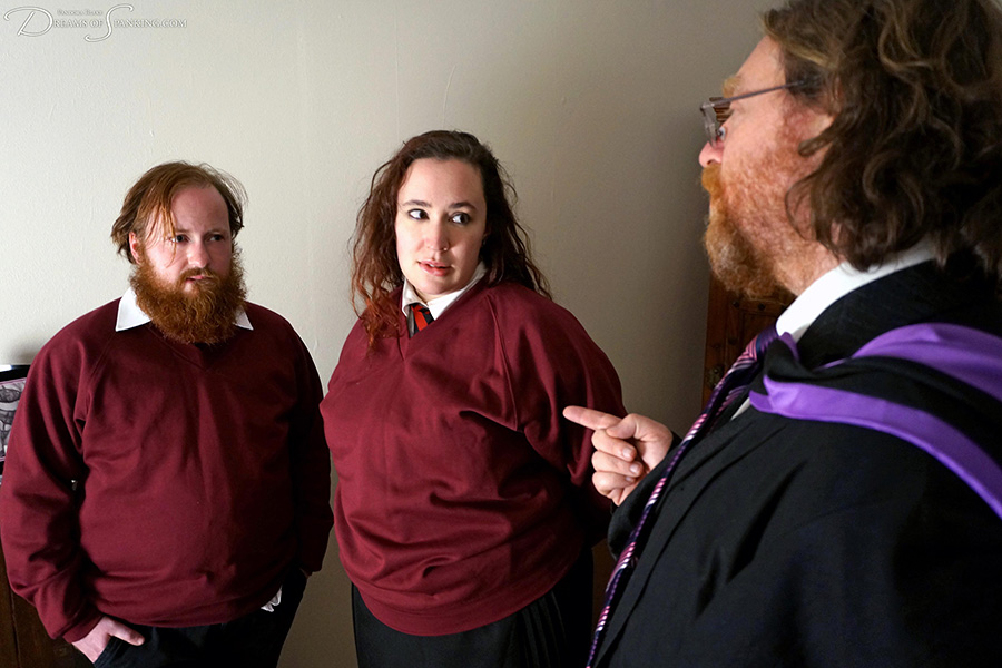 Naughty schoolboy and schoolgirl punished by the potions master at Dreams of Spanking