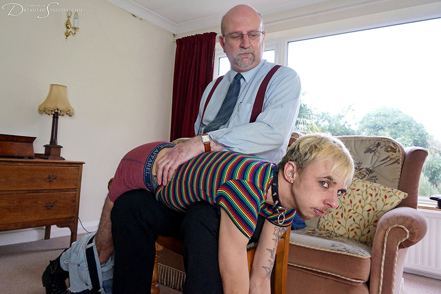 Strict uncle Dr Richard Barton takes queer punk Fauni Cate over the knee for a hard spanking