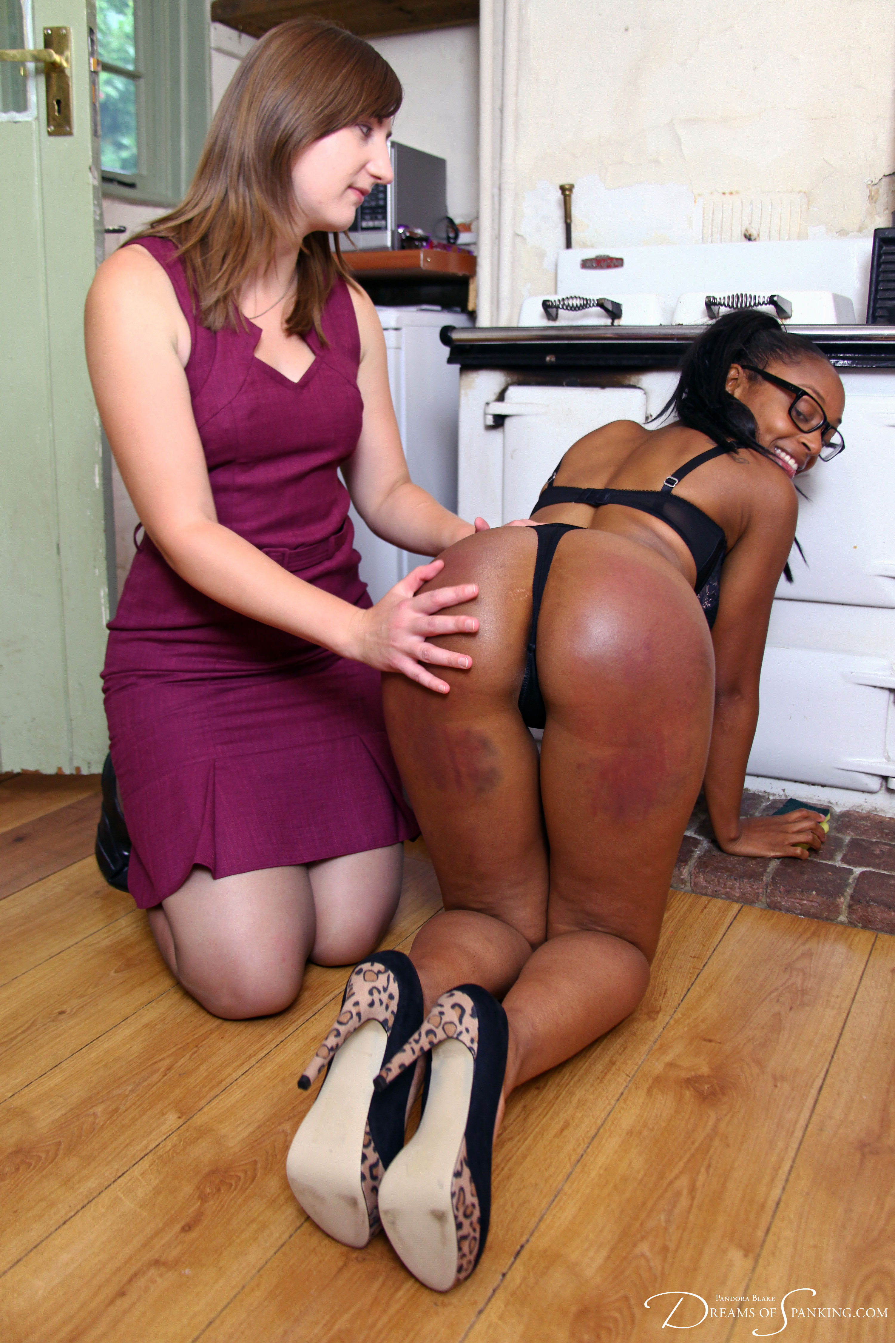 Lola Marie gets spanked in sexy lingerie at Dreams of Spanking
