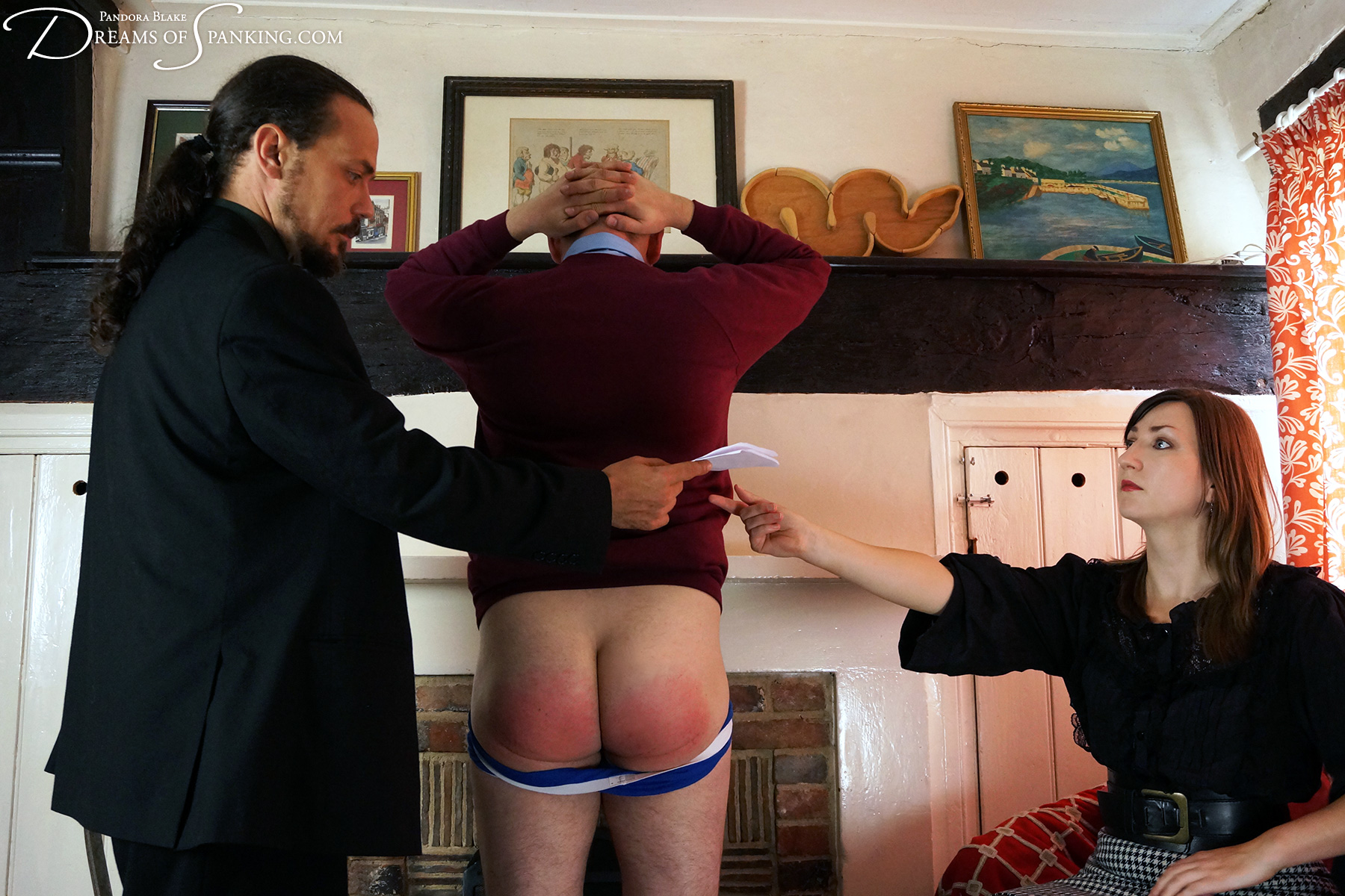 Naughty nephew spanked over the knee by uncle and aunt