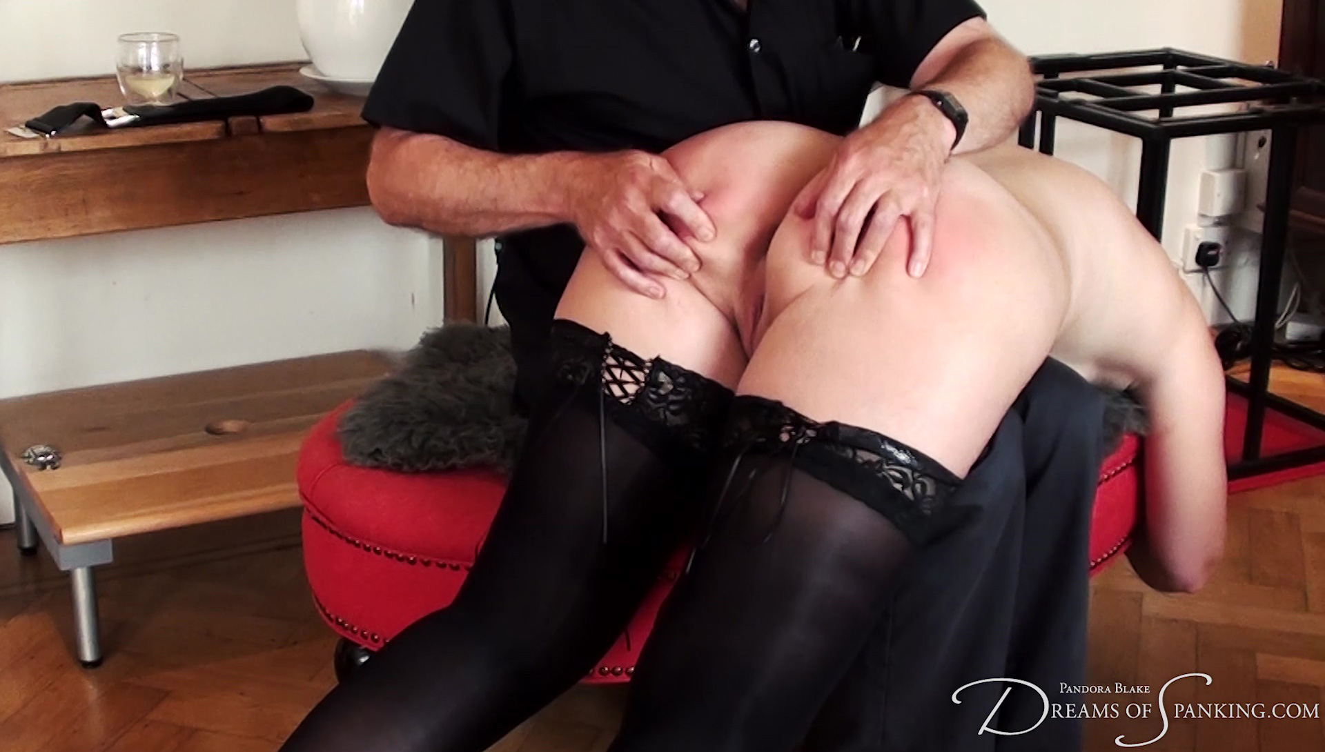 Pandora receives a sensual hand spanking at Dreams of Spanking