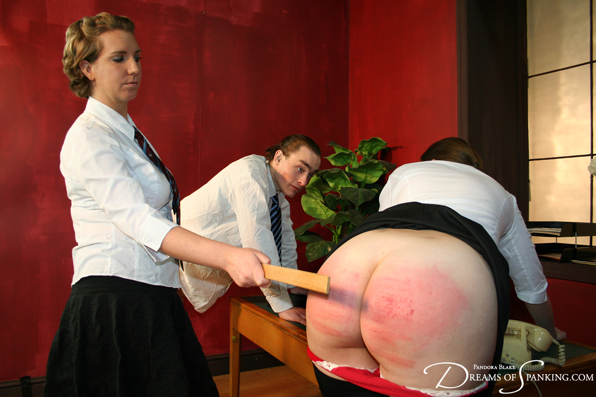 The Head Girl punishes a naughty schoolgirl and schoolboy at Dreams of Spanking