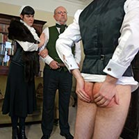 Misbehaving male takes a spanking from stepmother
