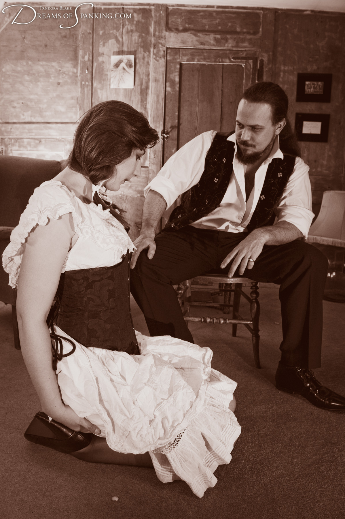 Pandora Blake and Thomas Cameron in The Victorian Brothel at Dreams of Spanking