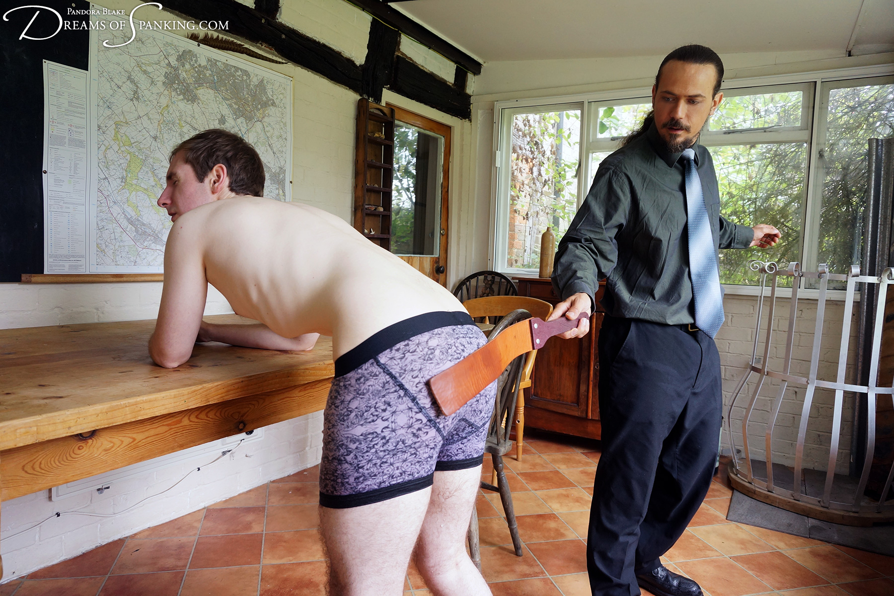 Son strapped over wet underwear by his strict dad at Dreams of Spanking