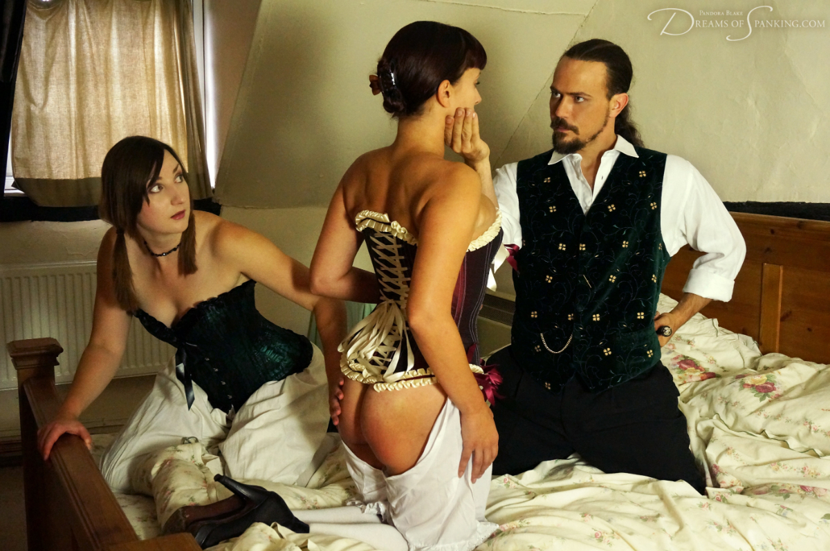Pandora Blake, Thomas Cameron, and Leia-Ann Woods in period costume at Dreams of Spanking